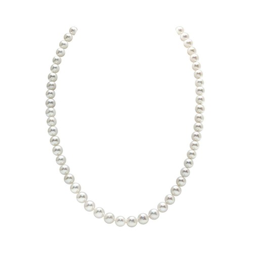 """AAA Quality Round White Freshwater Cultured Pearl Necklace for Women in 18"""" Princess Length"""