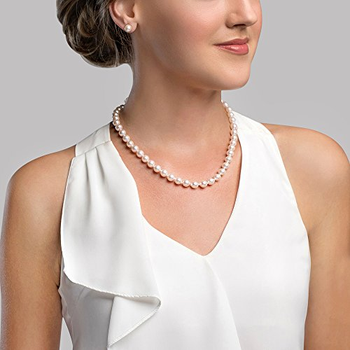 Choice of Pearl Size .925 Sterling Silver AAAA Pink Freshwater Cultured Pearl Silk-Knotted 18 Princess-Length Strand Necklace