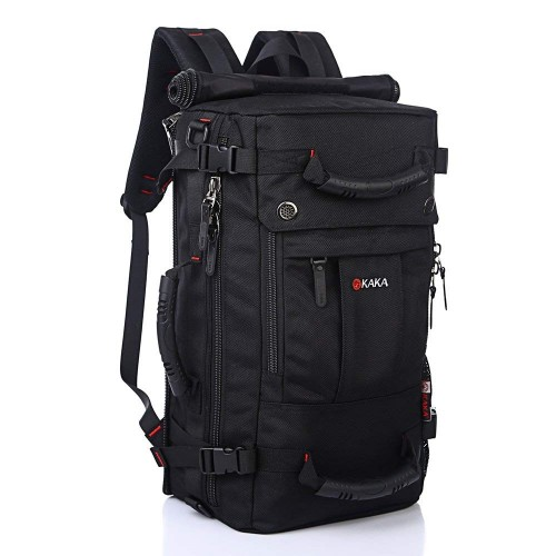 KAKA Classic Laptop Backpack, Travel Hiking Camping Dayback for Women Men, Water-Resistant Big College School Bookbag Fits 17 Inch Laptop and Notebook Black