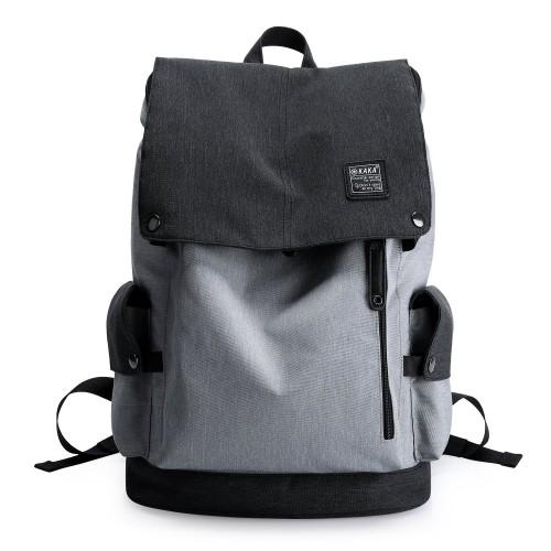 KAKA Lightweight Canvas Backpack Shoulder Daypack for 15.6-Inch Laptops Black Gray