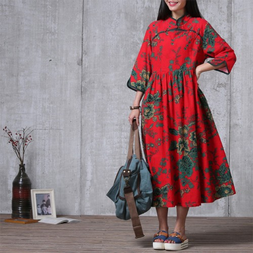 Casual Loose Fitting  Cotton Long Dress  Red  Women Maxi dress Size M
