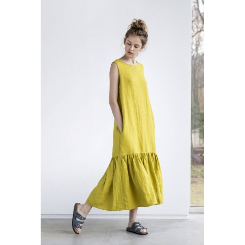 Drop ruffle maxi linen dress Washed and soft linen dress in greenish mustard