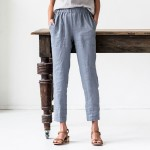 Linen GENOVA pants with elastic waistband Washed women linen trousers  linen pants available in 2colors