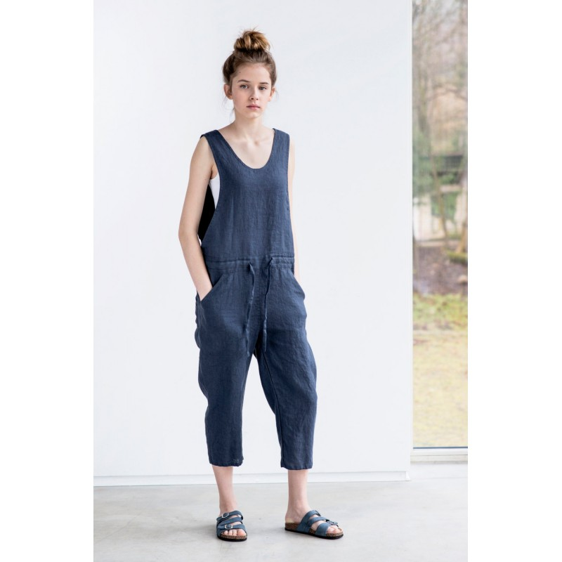 Loose Linen jumpsuit Charcoal washed  linen jumpsuit  Washed linen overall