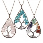 Natural Crystal Tree Of life Pendant Colorful Handmade Gravel life Tree Angel Tears Drop Pendant Necklace