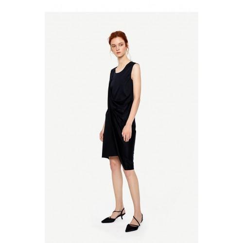 URBAN REVIVO Party Dress  Black Dress  Oversize Tunic Asymmetric Dress  Loose Dress Scoop Neckline Dress black