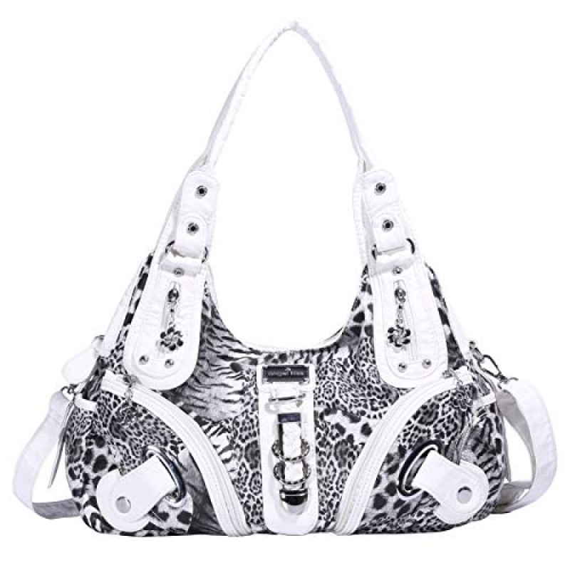 Angelkiss Women's Leopard Print Leather Hobo Shoulder Bags Satchel Purse Top-handle Handbags with Zipper
