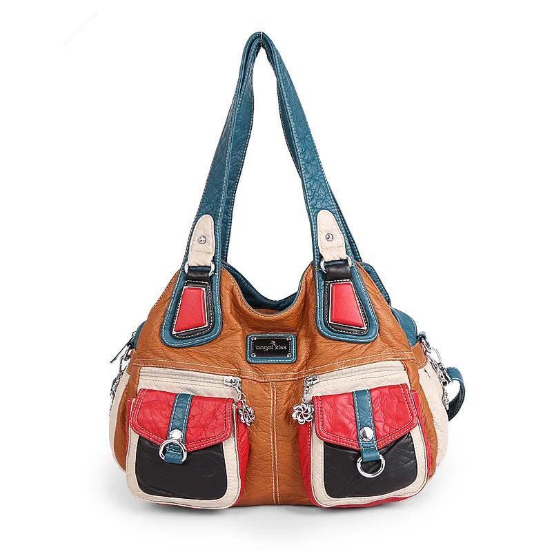 Angel kiss patchwork color women's bag large double zipper multi-pocket shoulder wash bag designer handbag for women