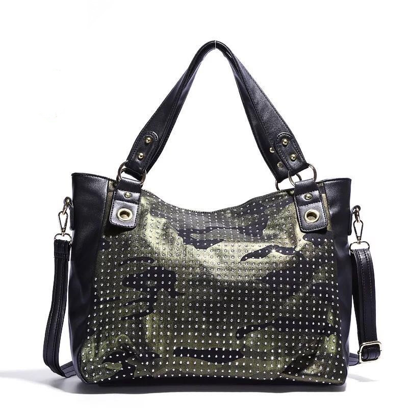 Angelkiss Women's fashion camouflage large  capacity PU Leather Tote Bag Top Handle Shoulder Handbags and Purses with Zipper
