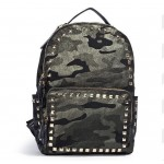 """Angelkiss rivet 15 """"camouflage high-capacity PU Leather  travel backpack"""