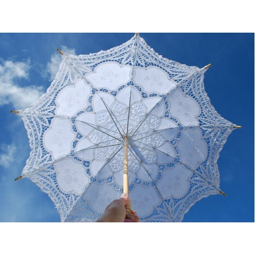 "Lace parasol, lace umbrella, 30"", Victorian parasol, Communion umbrella, White Lace Parasol, Battenburg, Bridal Umbrella, Vintage Parasol,"