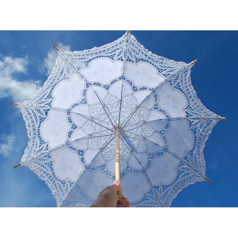 "Lace parasol, lace umbrella, 30"", Victorian parasol, Communion umbrella, White Lace Parasol, Battenburg, Bridal Umbrella, Vintage Parasol,"
