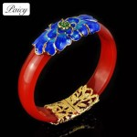 Agate Bracelet Chinese Style Natural Agate Jade Pith Cloisonne Open Bracelet