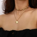 Fashion Joker Alloy Shell Female Simple National Style Multi-Layer Collarbone Chain