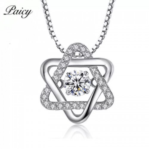 925 SterLing Silver Hexagonal Star Smart Necklace European And American Pendant Ladies Pendant With Diamond Setting Hot Style Recommended Silver Jewelry