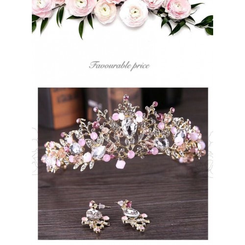 Bridal Crown Earrings Headwear Set Princess's Birthday Party Crown Dress Paired With Photographic Style