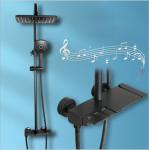 High standard electroplating black piano key shower faucet set bathroom toilet shower