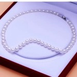 """925 Silver Clasp AAAA Quality Round White Freshwater Cultured Pearl Necklace for Women in 18"""" Princess Length"""
