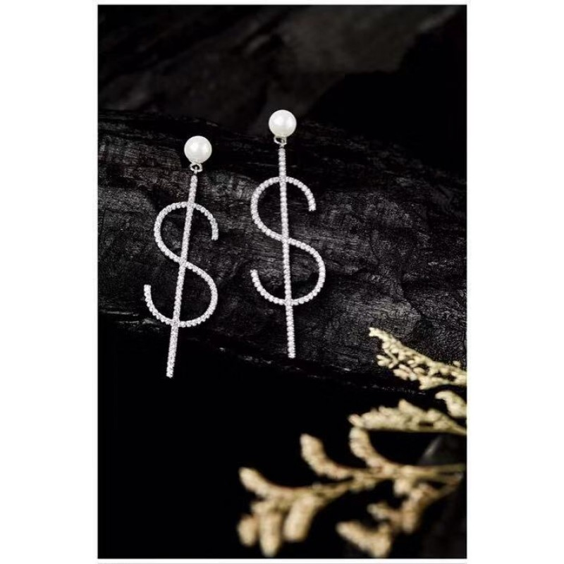 European-Style Creative Micro-Inlay AAA Zirconia Us Dollar Symbol Earrings 925 Sterling Silver Pins to Match